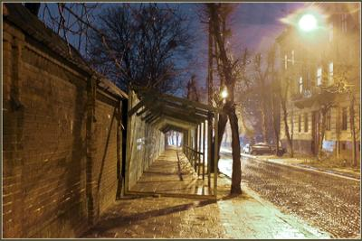 Вечерний город (17) город,улица,дождь,снег,вечер,фонари
