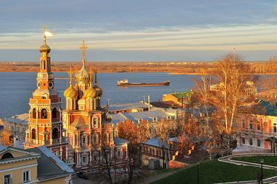 Нижегородский закат Нижний Новгород, церковь, Строгановская, Волга, река, закат