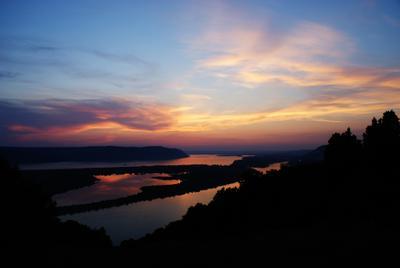 Постзакат река, Волга, Жигули, закат, лето