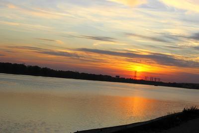 Закат закат вода небо