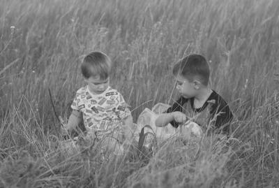 пикник на лужайке портрет дети жанровый