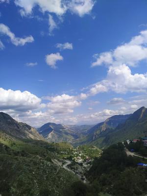 Пейзаж на фоне села Село Пейзаж респ Дагестан Россия