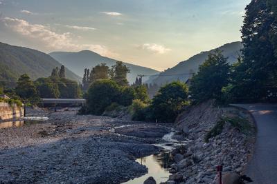 Утренний Цусхвадж утро горы река Цусхвадж Кавказ Сочи лето природа мост