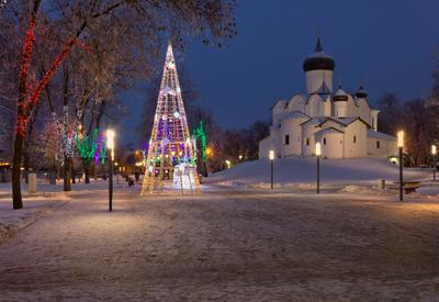 С Новым годом! псков храм церковь зима новый год