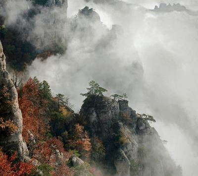 ***Вершины Скалы осень туман