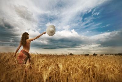 *** лето девушка поле пшеница