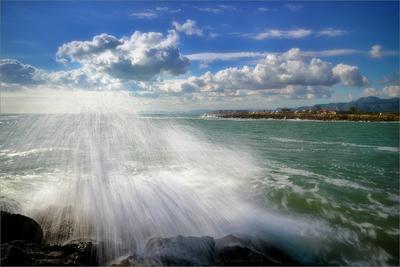 Дождь на море пейзаж небо облака море волны
