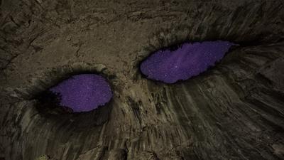 Взгляд сверху пещера глаза бога ночь звезды