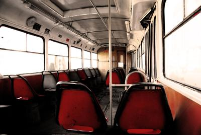 Взгляд кондуктора город трамвай