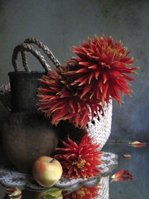 *** цветы букет георгины корзинка наталия тихомирова celesta