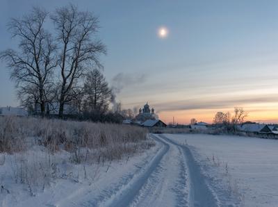 Тишина зимних сумерек. зима мороз сумерки луна село кырмыж вятка