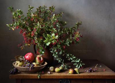 С букетом барбариса барбарис ягоды ветки букет виноград яблоки фиги