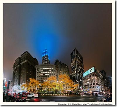 Переменная облачность. Ночь. Нью-Йорк ночь Бродвей Эмпаир Стейт Билдинг небоскрёб влажность облачность свеча свечка