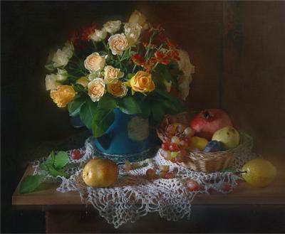 Просто так :) розы хризантемы фрукты