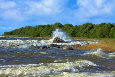 Ветреный день, охота на волну.