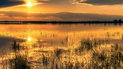 Золотой закат. закат озеро тучи отражение облака вода лето