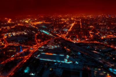 Over the night city night city Moscow lights Ostankino panorama Останкино ночь огни мегаполис панорама Москва