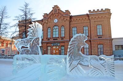 Музей им. Н.М.Мартьянова. Минусинск зима улица город архитектура сибирь