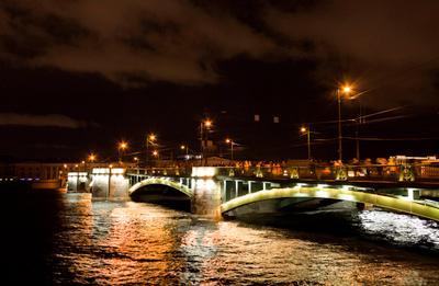 Санкт-Петербург санкт-петербург мост ночь фонари освещение