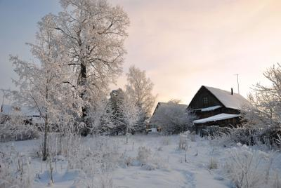 *** Зима деревня мороз снег