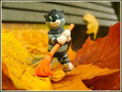 В Простоквашино пришла осень матроскин, осень, листья, уборка