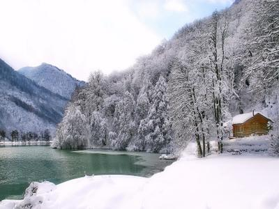 Банька зима озеро баня