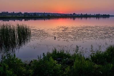 Рассвет после выпускного вечера Река рассвет отражение