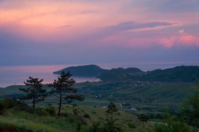 Вечер в Крыму Черное море закат горы Крым