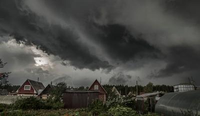 Гроза. гроза небо молния домики