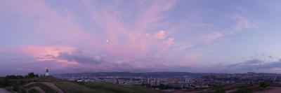 Закат над городом город Красноярск Сибирь лето вечер огни прогулка часовня закат облака