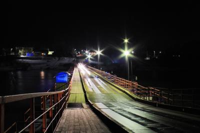 *** Night light urban Russia river bright village деревня Россия мост ночь река свет фонари природа nature