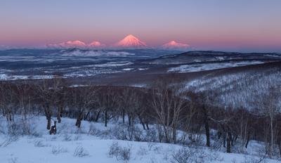 На закате дня Камчатка вулкан закат