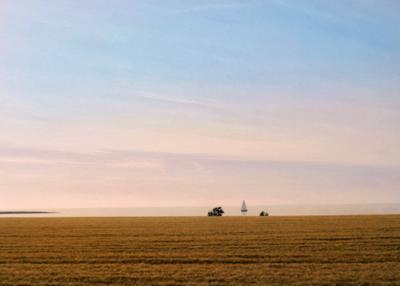 Маленький кораблик Море поле небо закат пейзаж природа корабль