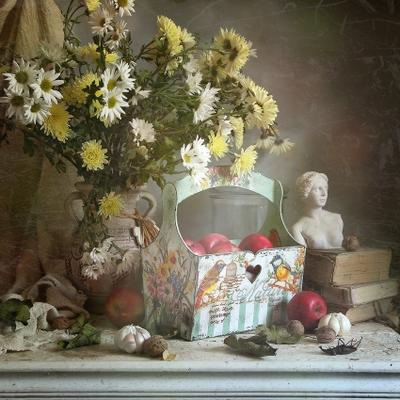 Лукошко лукошко ручная работа свет натюрморт яблоки хризантемы