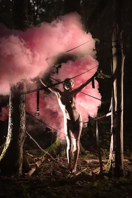 *Пленница леса* (цветной вариант) девушка лес в лесу дым лента