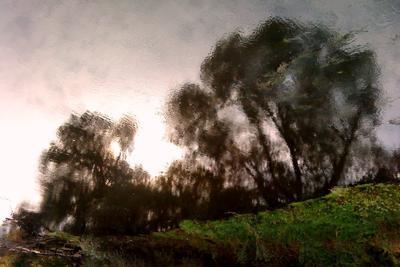 На той стороне река, закат, отражение, берег, вода, акварель, осень