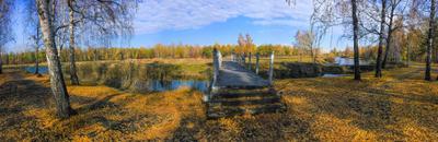 серия осенних панорам природа мост парк осень