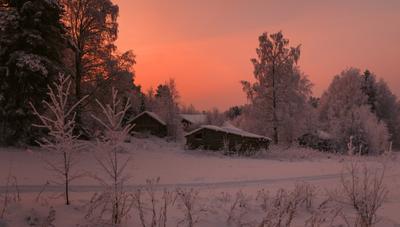 Зимний вечер в маленькой деревне... Вологодчина зима деревня