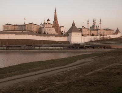 Кремль Город вечер огни улица дорога архитектура