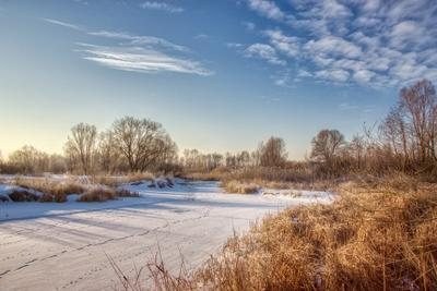 Морозное утро конца февраля пейзаж природа зима утро снег лес река луг солнце Усманка Сомово