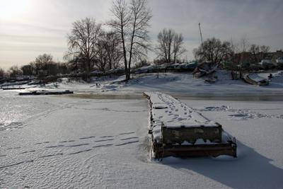Январь, возле причала зима причал река январь