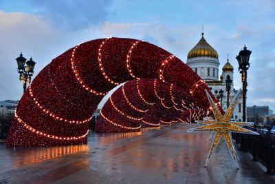 Рождественское утро город праздник зима иллюминация