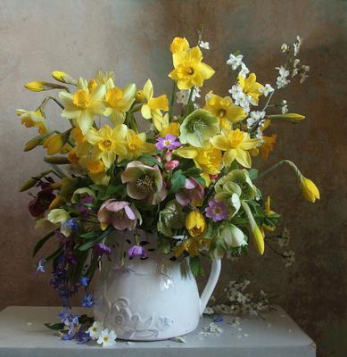 Пусть цветёт в твоём сердце апрель Натюрморт нарциссы морозник весна букет цветов