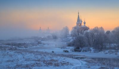 Дуниловские морозы Дунилово Ивановская область рассвет зима мороз иней туман село храм