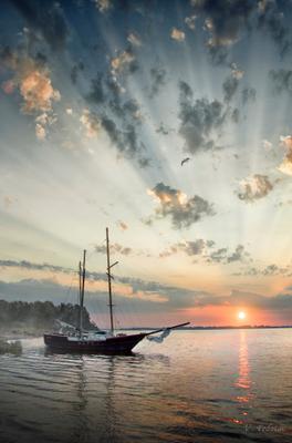 Восход солнца над Волгой ! Волга яхта лето восход солнца