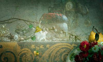 С тыквой. тыква улитка груши цветы