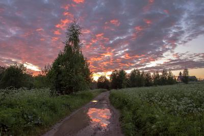 После дождя деревня лето дождь закат дорога