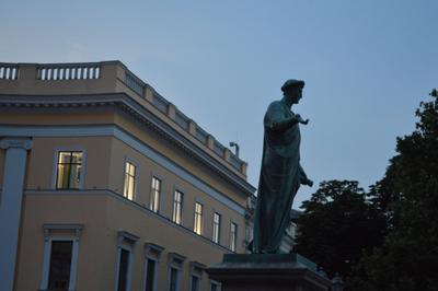 Дюк Де Ришелье и свиток ДюкДеРишелье Одесса Море Пейзаж Город Вечер Памятник