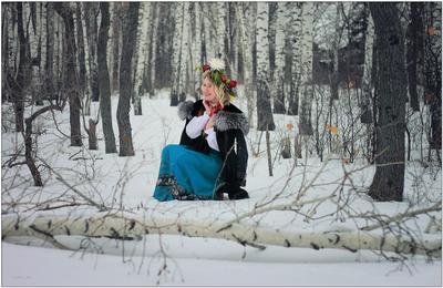 *** снег девушка берёзы