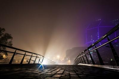Минск. Библиотека. Свет. Туман. Ночь. Мост. минск свет туман ночь мост